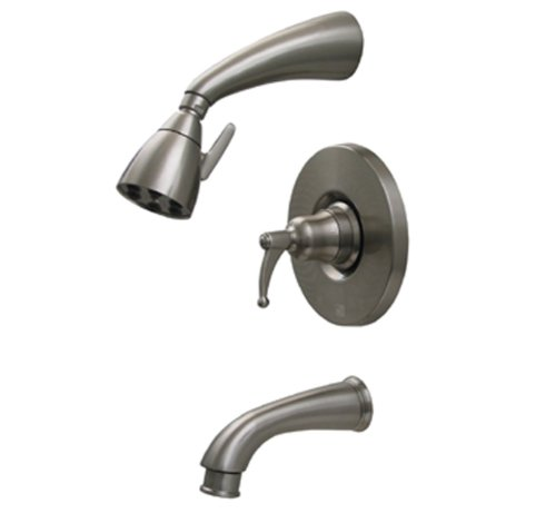 Whitehaus 614.835PR-PTR Blairhaus Adams 2 5/8-Inch Pressure Balance Valve with Showerhead and Bell-Shaped Lever Handle, Pewter