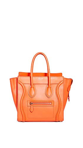 (What Goes Around Comes Around Women's Celine Orange Smooth Luggage Micro Bag, Orange, One Size)