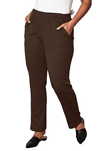 Roamans Women's Plus Size Petite Soft Knit Straight-Leg Pants - Chocolate, ()