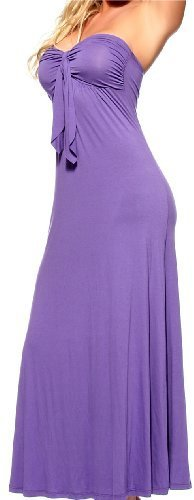 PURPLE LONG BOHO SUN VINTAGE STRAPLESS PADDED CELEBRITY TUBE SEXY MAXI DRESS, Large