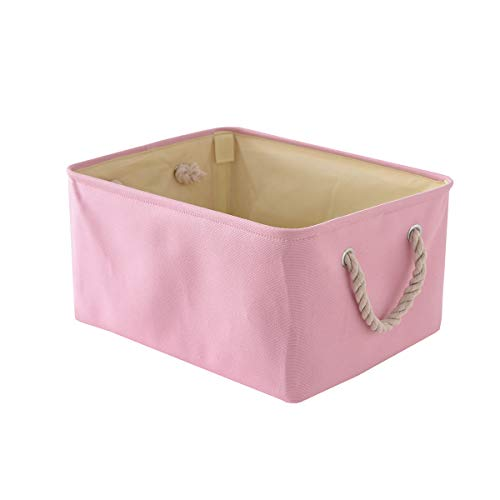 (TheWarmHome Decorative Basket Fabric Storage Basket Bin Organizer with Sturdy Rod for Clothes Storage,Baby Storage, Toy Storage, Nursery Baskets for Gifts Empty(Pink, 15.7L11.8W8.3H))