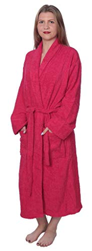 Womens 100% Cotton Shawl Collar Robe Terry Cloth Bathrobe Available in Plus Size BRT1_Y19 Hot Pink 3X by Beverly Rock