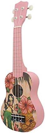 ギター 軽量キウイフルーツパイナップルの少女と花の21インチの4弦バスウッドソプラノウクレレウケ楽器 クラシック ギター (Color : Kiwifruit, Size : 21inch)