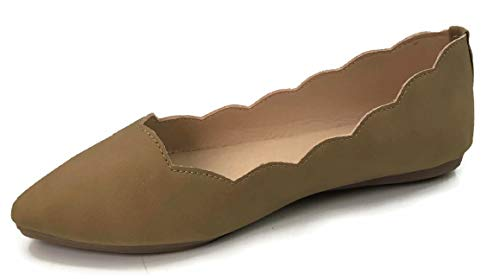 (Ballet Flats Laser Cut Outs Scalloped Edge Slip-On Close Toe Shoes, Camel, 8 )