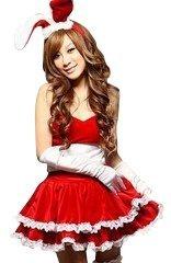 fd211b815eab4 バニーガール(レッド) 赤バニードレスセット バニー サンタコスチューム サンタ クリスマス コスプレ クリスマス