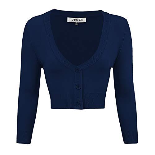 YEMAK Women's Cropped 3/4 Sleeve Bolero Button Down Cardigan Sweater CO129-NAV-L Navy -
