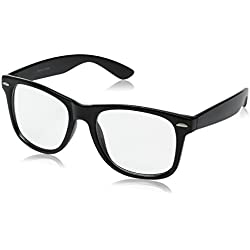 GENERIC Retro Clear Lens Eye Glasses,black,one size fits most