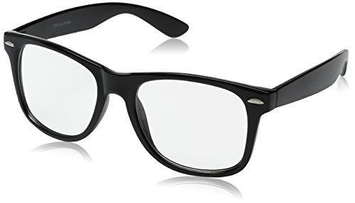 GENERIC Retro Clear Lens Eye Glasses,black,one size fits most -