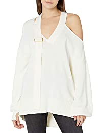 Women's @lucyswhims V-Neck Buckle Slouchy Sweater