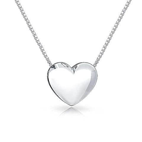 Bling Jewelry Polished Heart Slide Pendant Sterling Silver Love Necklace 18 Inches