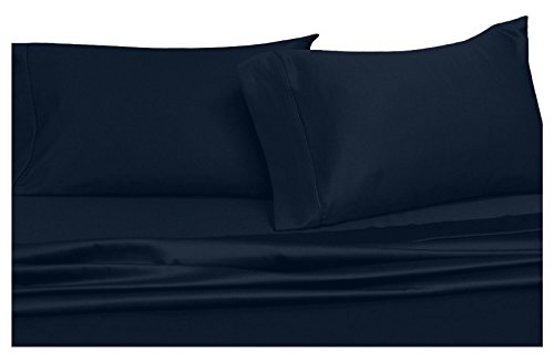 - Royal's Solid Navy 300-Thread-Count 4pc Queen Waterbed-Sheets 100% Cotton, Sateen Solid Sheet Set