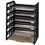 Office Depot 30% Recycled Ribbed Bottom Stackable Letter Trays, Black, Pack Of 6, 10415