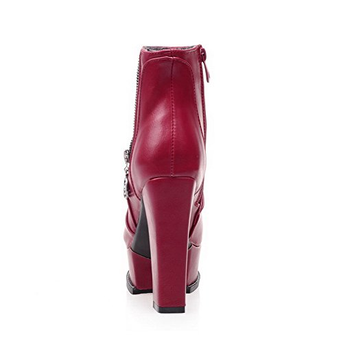 Red Closed Boots Zippers with Toe Women's WeiPoot Chunky Heels Solid and vxUqEfwnS