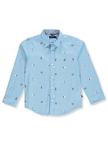 Nautica Big Boys' Long Sleeve Printed Woven Shirt, Aloha ski Blue Large (14/16)