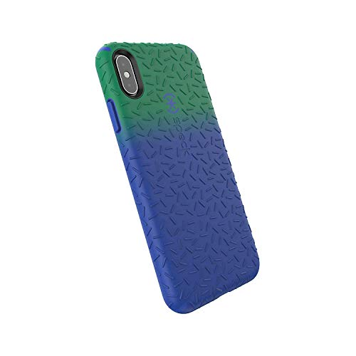 Speck Products CandyShell Fit iPhone Xs Max Case, Evergreen Green Ombre Blueberry Blue/Blueberry Blue