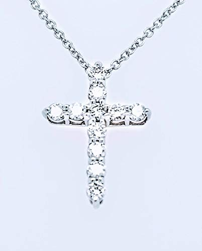 Round Diamond Cross Pendant Necklace, 14K Gold, Adjustable Chain (G-H Color, SI2-I1 Clarity) (White-Gold, 0.33) ()