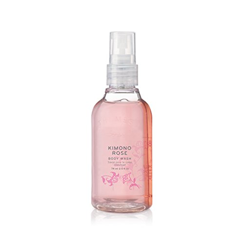 Thymes - Kimono Rose Petite Body Wash with Pump - Hydrating Shower Gel with Soft Vanilla Rose Scent - Travel Size - 2.5 oz (Vanilla Size Travel Body Wash)