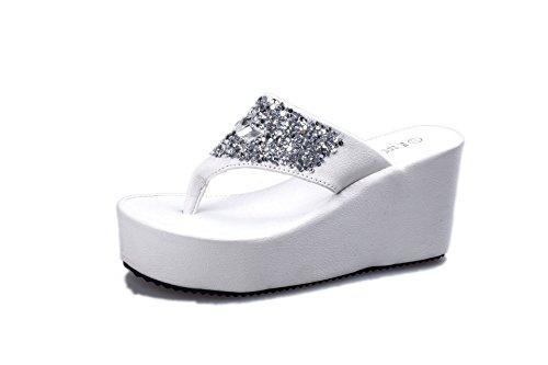 WHLShoes Sandalias Y Chanclas Para Mujer Elegantes Sandalias De Mujeres Toe Verano Pendiente Con Altura Inferior Grueso Con Cien Lap Confort Informal De Carácter Persona Arrastre white