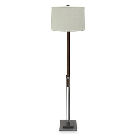 Trent Adjustable Floor Lamp in Bronze with Linen Shade 150-watt bulb
