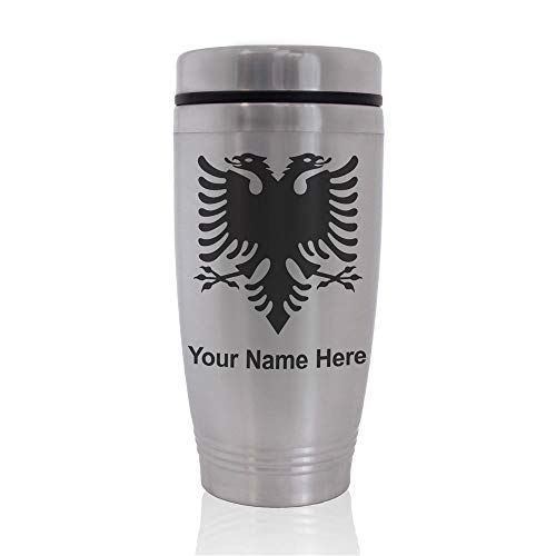 Commuter Travel Mug, Flag of Albania, Personalized Engraving Included