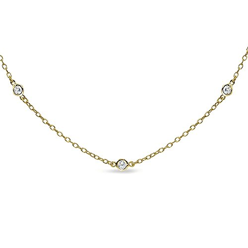 GemStar USA Yellow Gold Flashed Sterling Silver Cubic Zirconia Station Dainty Chain Choker Necklace