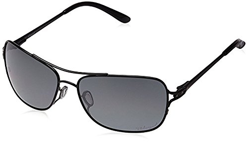 Oakley Women's Metal Woman Polarized Aviator Sunglasses, Polished Black, 59 mm ()