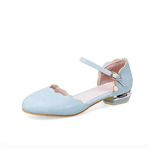 Square SLC04266 Toe AdeeSu Blue Urethane Womens Shoes Buckle Flats Round Heels gfnqFSxw