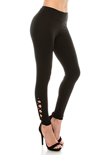 (ALWAYS Women Solid Soft Stretch Criss Cross Workout Yoga Leggings Black Pink Regular)