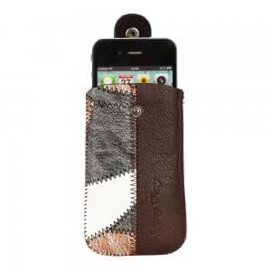 Snap Fastener Design Faux Leather Case Pouch for iPhone 3G Brown & Grey