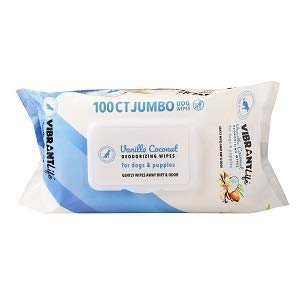 - Vibrant Life 100 CT Jumbo Vanilla Coconut Deodorizing Wipes for Dogs & Puppies