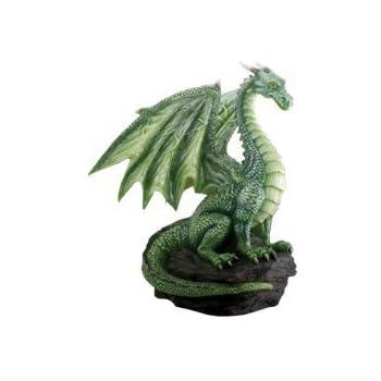 Green Dragon on Rock Sculpture