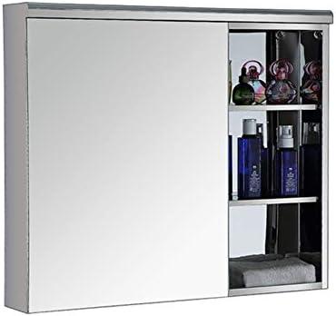 ミラーキャビネット 壁は可動棚収納ミラーキャビネットと医学キャビネットステンレス鋼の浴室をマウント (Color : Silver, Size : 70x60x13cm)