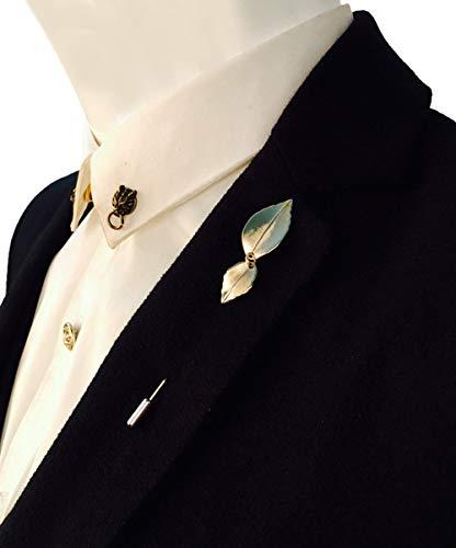 - YUMILY Mens Korean Style Vintage Double-Leaf Suits Shirt Tie Stick Lapel Pin