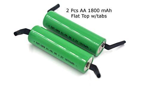 2 Pcs - Nimh 1.2v AA 1800 mAh Shaver Battery Upgrade with Solder Tabs for Braun, Norelco, Remington Shaver Models