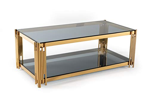 6 Camaoni Collection Modern Style Smoked Glass Living Room Coffee Table with Polished Stainless Steel Frame Blue & Gold ()