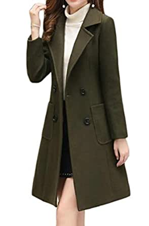 Macondoo Women Slim Outwear Double Breasted Trenchcoat Wool-Blend Pea Coat Army Green X-Small