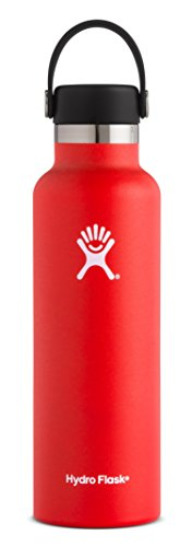 Hydro Flask 21 oz Double Wall Vacuum Insulated Stainless Steel Leak Proof Sports Water Bottle, Standard Mouth with BPA Free Flex Cap, Lava