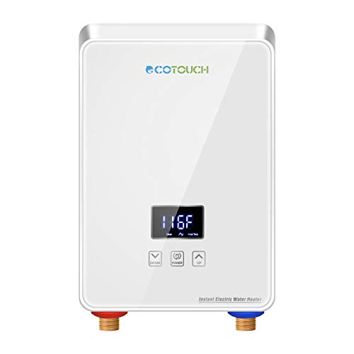 ECOTOUCH Electric Tankless Water Heater Point-of-Use Hot Water Heater Digital Display for Energy Efficiency 5.5kW at 240V, - Water Heater Bosch Mini