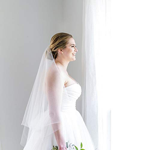 2 Tier Wedding Veil with Comb White Ivory Short Cut Edge Elbow Length (Ivory) by MISSVEIL (Image #5)