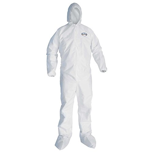 KleenGuard 46125 A30 Elastic Back and Cuff Hooded/Boots Coveralls, White, 2XL (Case of 25)
