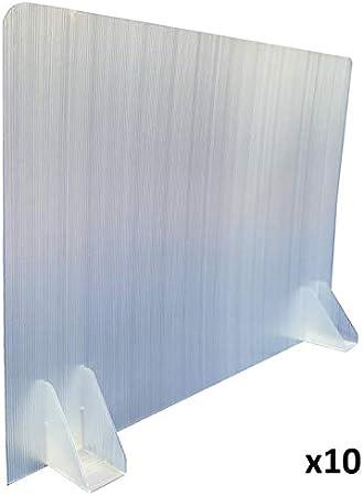 KMINA - Mamparas para Oficinas (Pack x 10 uds), Mampara Protectora Mesa Oficina, Mampara Oficina Plástico, Separador Oficina o Divisor Mesa Escritorio de 70 cm de Largo y 50 cm de Alto