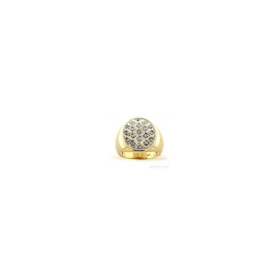 Mens Bling Bling 14K Yellow Gold Diamond Ring Jewelry