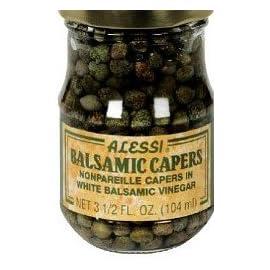 Alessi Caper Balsamic Vinegar 77 Alessi Capers in white balsamic vinegar 3.5 Oz jar. Pack of 3.