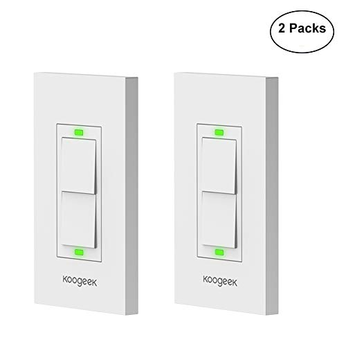 Koogeek Smart WiFi Light Switch Two-Gang Switch for Apple HomeKit with Siri Remote on 2.4Ghz Network, Single Pole, Beige (Require Neutral Wire) 2Packs