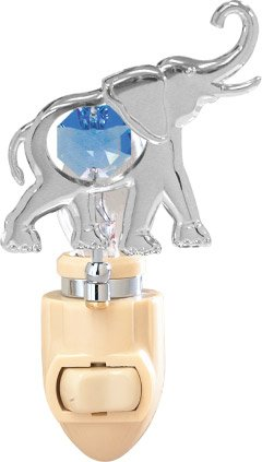 Elephant in 24K Gold Plated Night Light..... With Blue Color Swarovski Austrian - Plated Light Silver Night