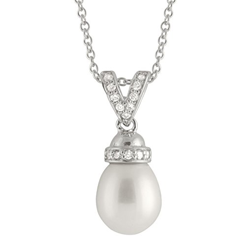 Handpicked AA 8.5-9mm White Freshwater Cultured Pearl Acorn Cap Double Bail Sterling Silver Rhodium-Plated Pendant on a 17