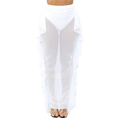 Elastic Mesh White - Women See Throug Mesh Flare Cover up Pants Swimsuit Bikini Bottom Cover up Elastic Waist Wide Leg Palazzo Trousers (XL, White/Mesh Ruffle Skirt)
