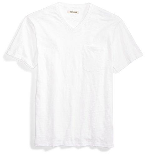 (Goodthreads Men's Lightweight Slub V-Neck Pocket T-Shirt, Bright White, XX-Large)