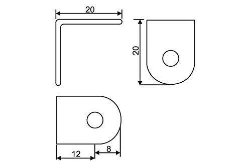 Staffe angolari da 20 mm x 20 mm x 16 mm 50 pezzi