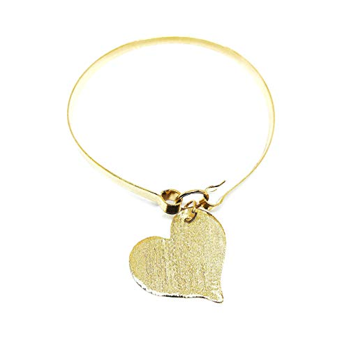 Bangle Gold Plated Bracelet for Women Hand-carved Heart Pendant ()